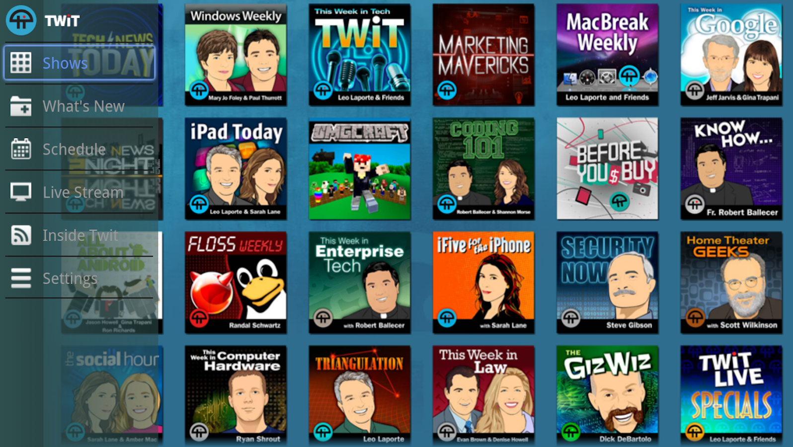TWiT.TV for Google TV - screenshot