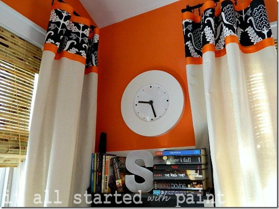 Teen Room orange gray black clock