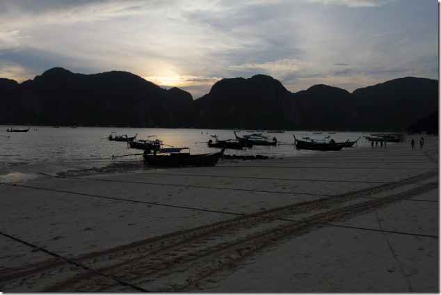 A Sunset moment on the beach of Ko Phi Phi
