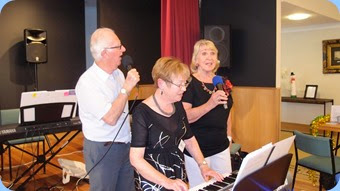 Our singing trio, Peter Jackson, Diane Lyons and Margaret Black. Photo courtesy of Dennis Lyons.