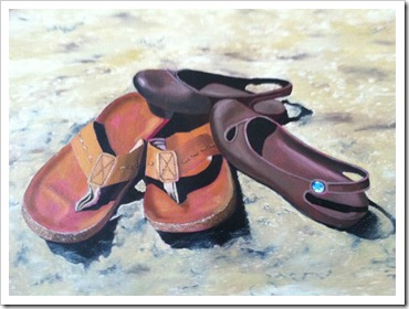 our shoes realism painting