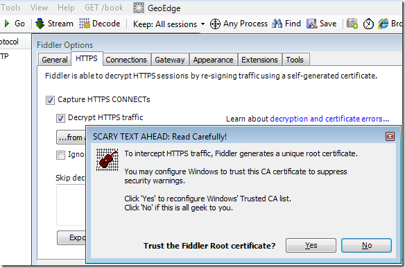 Screenshot of Fiddler Options dialog