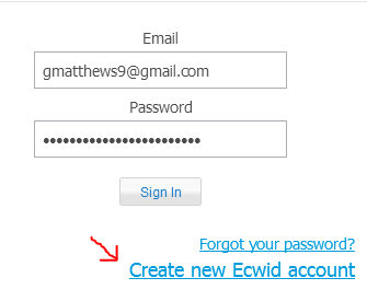 create new ecwid account