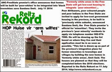 AfrikanerPoorToGetGovtHousingInFreeStateButMustMoveToBlackTownships