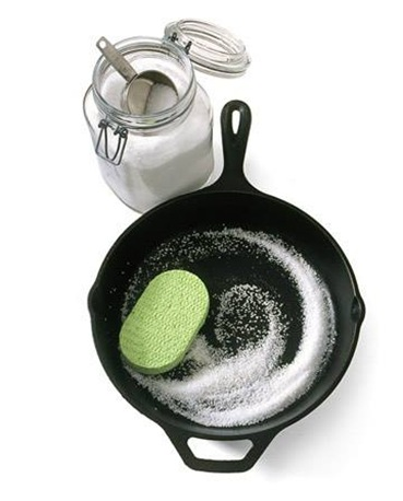 Wash cast iron with salt