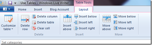 livewriter tables layout tab
