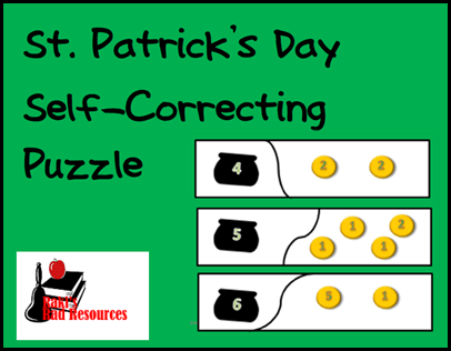 Kids count money and work on number combinations while helping the leprechaun find his cold in this self correcting puzzle.  Perfect for combining math and St. Patrick's Day.  Free download from Raki's Rad Resources.