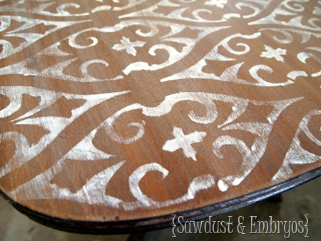 Sanding AFTER Stenciling! {Sawdust and Embryos}