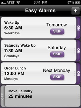 Easy Alarms is a free iPhone Alarm