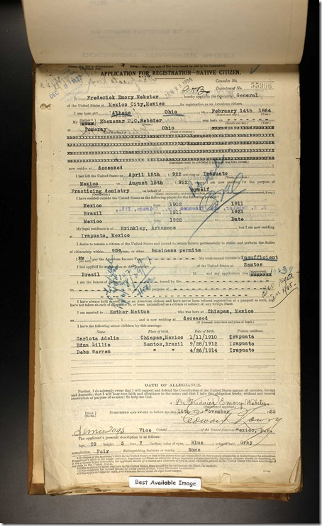US Consular Registration Applications 1916-1925 Frederick Webster 1923