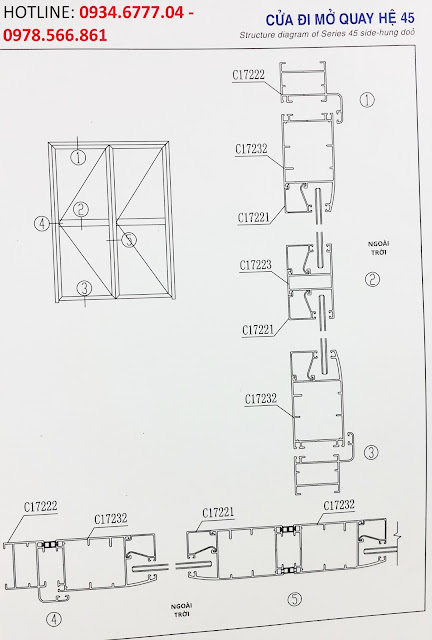 Kết cấu cửa đi mở quay nhôm Xingfa hệ 45