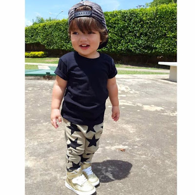 How cute is babymathiascamilo in our summer star print pants kardashiankids