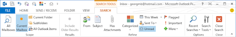 Office 2013 Outlook Search ribbon