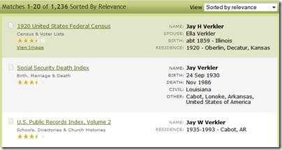 在Ancestry.com搜索结果中,他们堆叠了信息