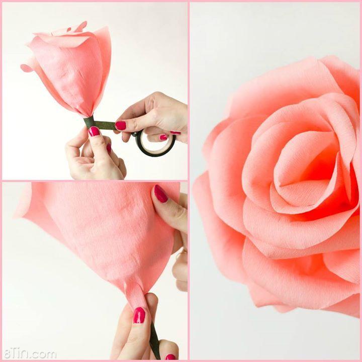 Mai là 20/10 rồi, cùng chúng tớ làm bông hồng giấy thật