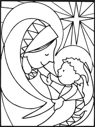 Dibujos Virgen Maria Y Niño Jesus Para Colorear