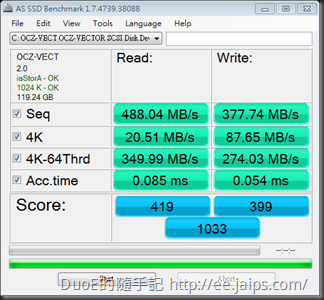 as-ssd-bench OCZ-VECTOR_20131102(關閉電源管理)