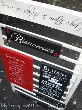 crib rails made into a craft show display