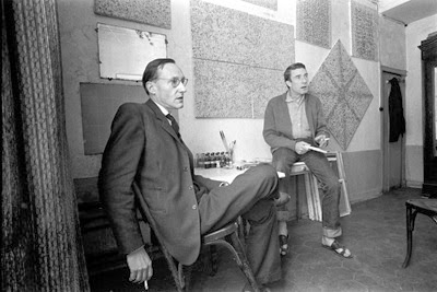William S. Burroughs with his frequent collaborator, the English artist Brion Gysin, in Gysin's Paris studio, 1959