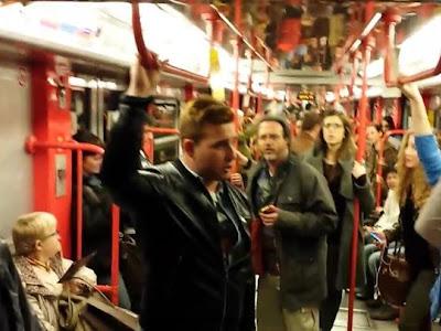 On a Subway train in Milan Italy Libiamo ne lieti calici Traviata