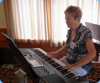Diane Lyons played the arrival music and then performed in the main body of the first-half including some nice vocals. Diane was debuting with her new Korg Pa900 keyboard. Photo courtesy of Dennis Lyons.