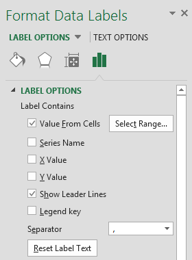 Office Excel 2013 custom data labels for scatter chart