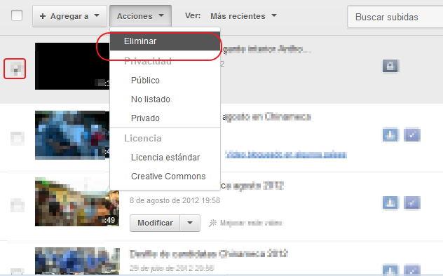 Borrar videos en youtube