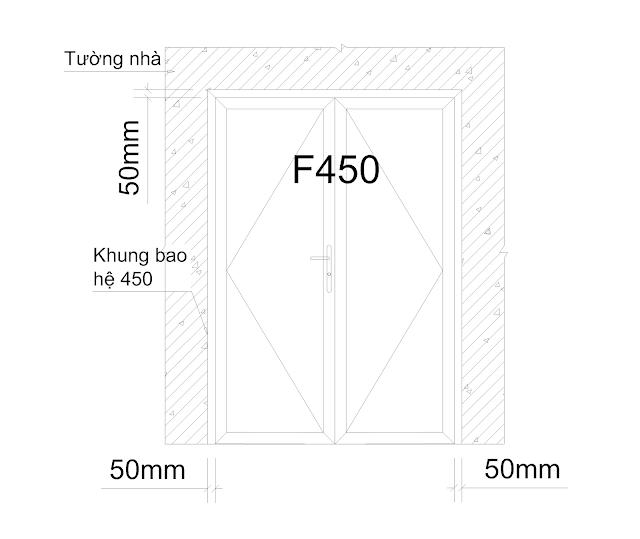 Cửa đi F450 mở quay 1,2,3,4 cánh