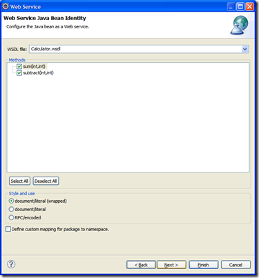 Bottom Uo Java Bean Web Service Eclipse
