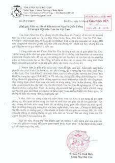 Về vụ nhà thờ chánh toà Bùi Chu: Mời tham khảo ý kiến anh Vũ Lê Hoàng, một giáo dân Bùi Chu
