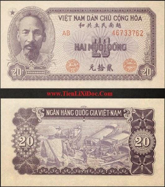20 Đồng Việt Nam Dân Chủ 1951(Tím)
