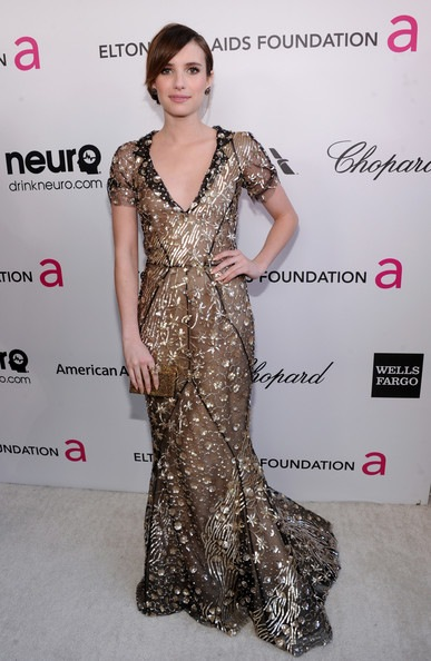 Emma Roberts attends the 21st Annual Elton John AIDS Foundation Academy Awards Viewing Party