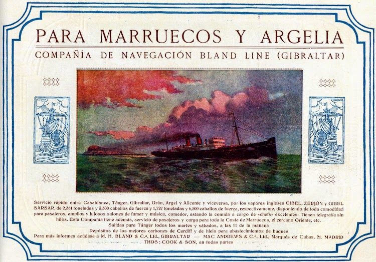 Anuncio de la linea a Casablanca. Libro de información al Pasajero de la Compañia Trasatlantica. Año 1.923.JPG
