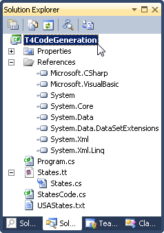 T4 Code Generation Project in Solution Explorer view