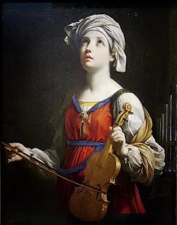 """Bức """"Saint Cecilia"""" hay bức tranh về vị Thánh nữ âm nhạc của danh họa thời Baroque, Guido Reni, vẽ vào năm 1606."""