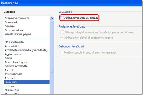 Come disabilitare JavaScript su Adobe Reader