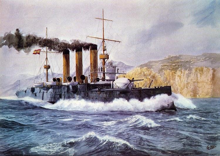 Crucero acorazado EMPERADOR CARLOS V. Acuarela de G. Aledo. Del libro El Buque en la Armada Española.JPG