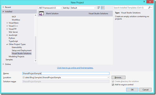 blank-solution-for-shared-project-visual-studio-2015