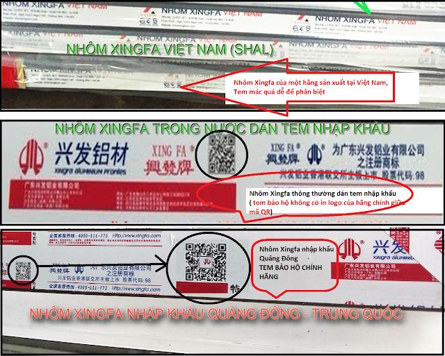 Tem mác sản phẩn nhôm Xingfa nhập khẩu và nhôm Xingfa thường