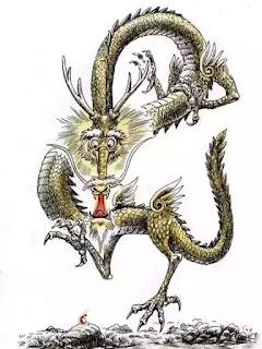 """""""Rồng chẳng ra rồng mới sợ từng con kiến đi kiện; vua chẳng ra vua mới lo sợ dân chúng kêu oan...!"""" — (Tranh của Kuang Biao, Trung Quốc)"""