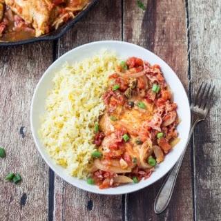 Spicy Basque Chicken with Saffron Rice.