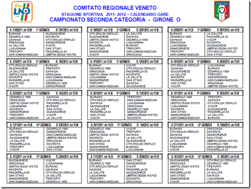 Calendario Seconda Categoria Veneto.Giovanissimi Vigor Cintese 2010 2011 Il Calendario Del