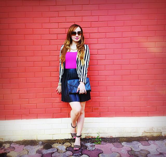 Forever 21 Leather Skater Skirt & H&M Striped Blazer