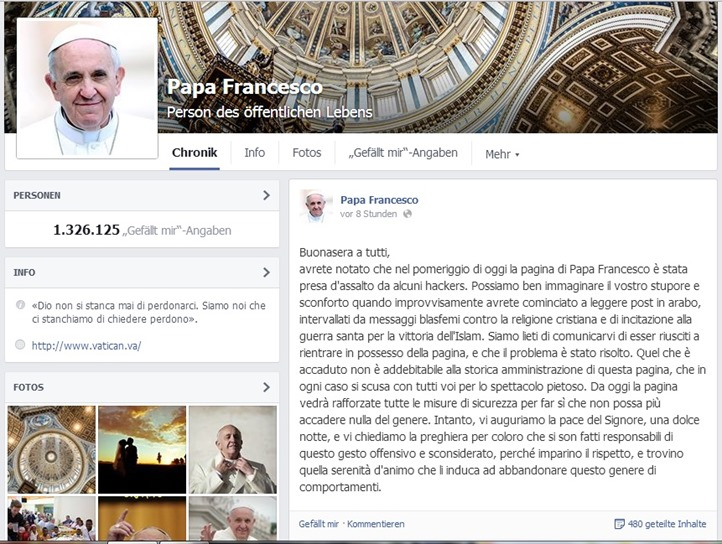 enthackter FB account papa Francesco 7.7.2014