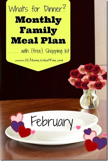 February Meal Planner is free with 4 weeks of menus, recipes, and weekly printable grocery list. #mealplanner #recipes