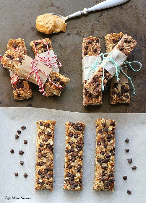 {healthy}{no-bake} Peanut Butter Chocolate Chips Granola Bars by --- @LifeMadeSweeter.jpg