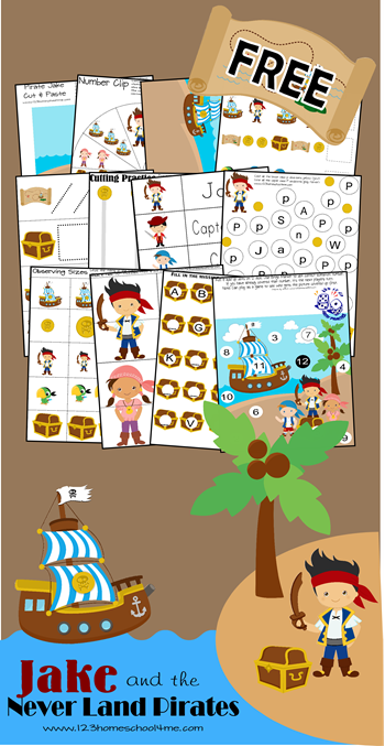 FREE Jake and the Neverland Pirates Worksheets for Kids - These are so cute! What a fun way for kids to practice alphabet letters, numbers, counting, adding, and so much more with a fun disney inspired theme for preschool, kindergarten, and 1st grade kids.