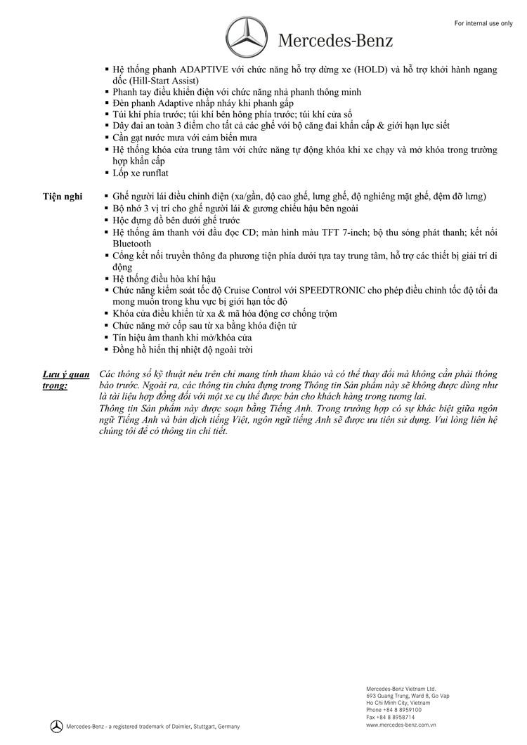 Thông số kỹ thuật xe Mercedes Benz CLA 200 New Model 02