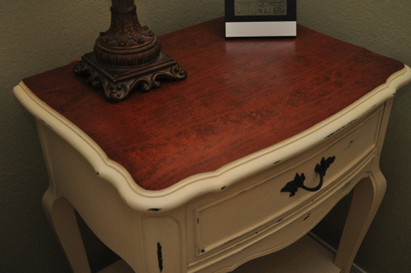 stained-painted nightstand