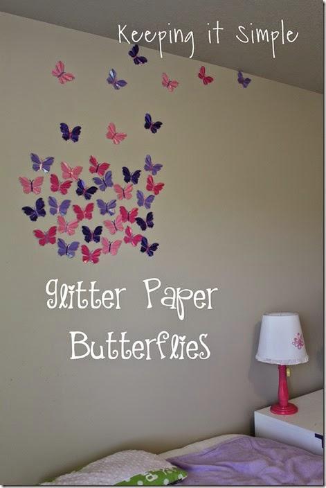 Little girl's room idea glitter paper butterflies